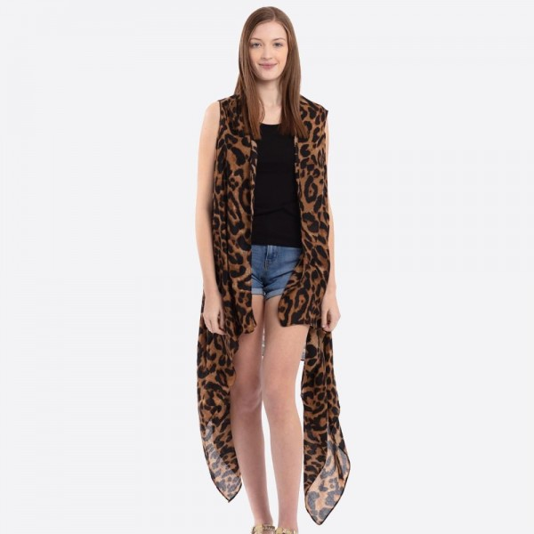"Women's soft ultra lightweight leopard print vest.  - One size fits most 0-14 - Approximately 37"" L - 100% Polyester"