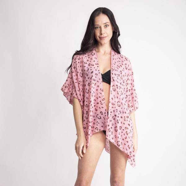 "Women's leopard print ruffle short kimono.  - One size fits most 0-14 - Approximately 27"" L - 100% Viscose"