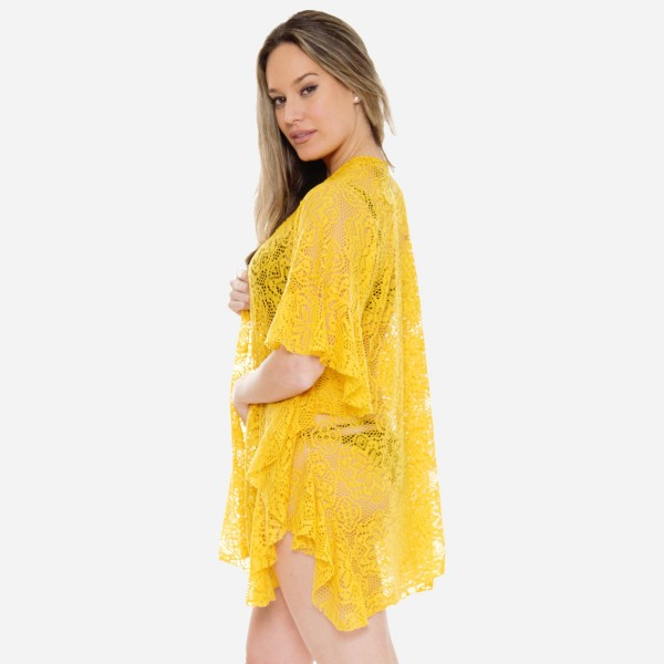 """Women's lightweight floral lace ruffle kimono.  - One size fits most 0-14 - Approximately 32"""" L - 100% Polyester"""
