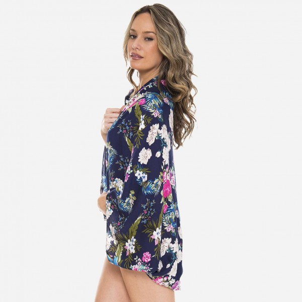 """Women's tropical floral rounded short kimono.  - One size fits most 0-14 - Approximately 35"""" L - 100% Viscose"""