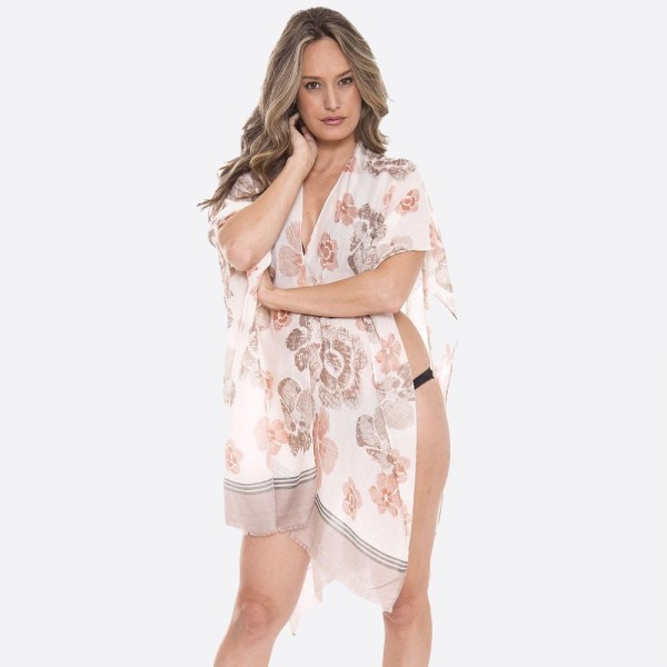 """Women's lightweight floral sketched bordered kimono.  - One size fits most 0-14 - Approximately 35"""" L - 100% Viscose"""