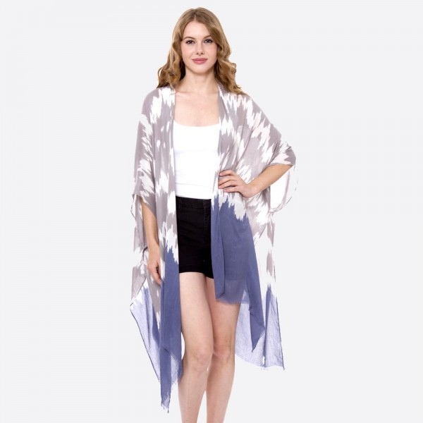 """Women's lightweight Grey abstract watercolor kimono.   - One size fits most 0-14 - Approximately 35"""" L - 100% Viscose"""