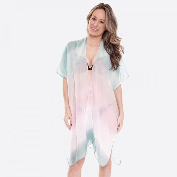 """Women's lightweight sheer ombre kimono.  - One size fits most 0-14 - Approximately 35"""" L - 100% Viscose"""