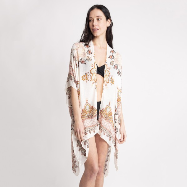 """Women's Lightweight Vintage Floral Print Kimono.  - One size fits most 0-14 - Approximately 33"""" L - 100% Viscose"""