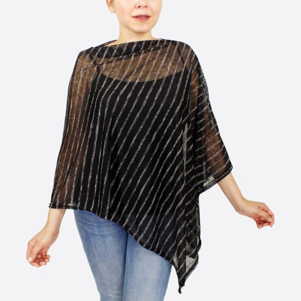 """Women's lightweight sheer stripe poncho.  - One size fits most 0-14 - Approximately 30"""" L - 100% Polyester - 100% Polyester"""