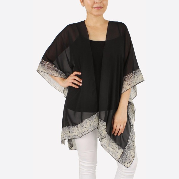 "Women's lightweight sheer snakeskin bordered kimono.  - One size fits most 0-14 - Approximately 32"" L - 100% Polyester"