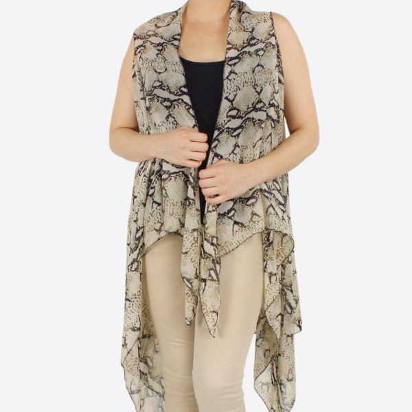 "Women's lightweight sheer snakeskin vest kimono.  - One size fits most 0-14 - Approximately 37"" L - 100% Polyester"