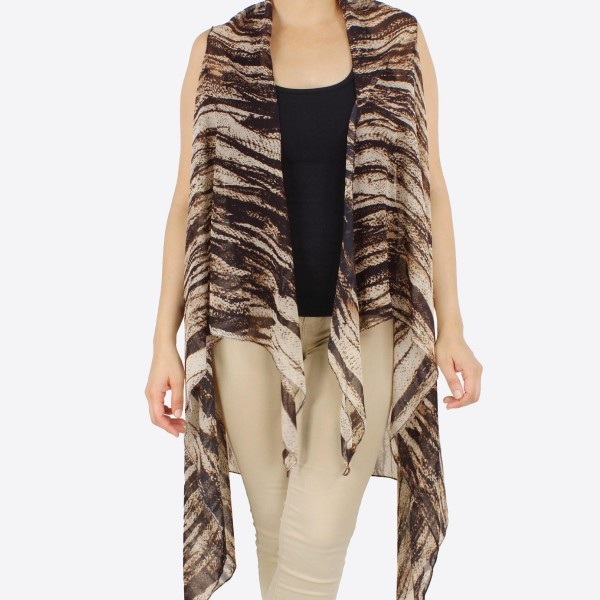 "Women's lightweight sheer animal print vest kimono.  - One size fits most 0-14 - Approximately 37"" L - 100% Polyester"