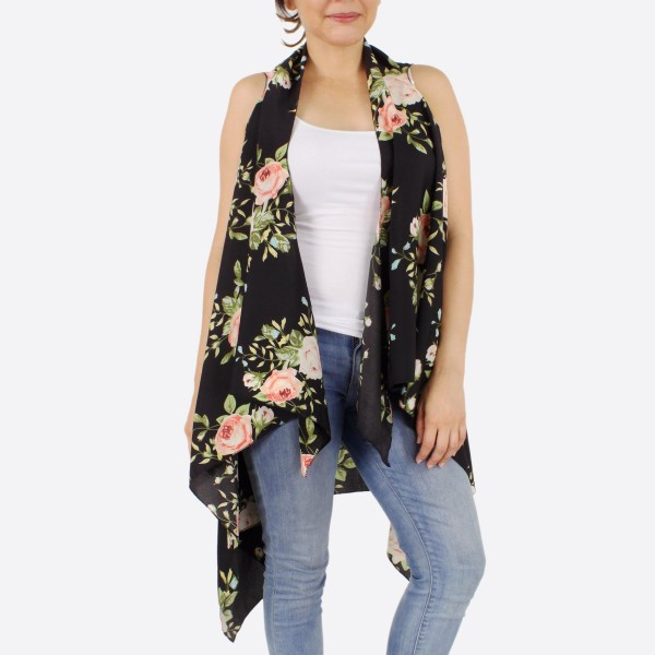 "Women's lightweight floral kimono vest.  - One size fits most 0-14 - Approximately 38"" L in back and front 44"" L - 100% Polyester"