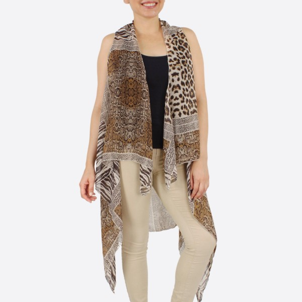"Women's lightweight multi animal patch vest kimono.  - One size fits most 0-14 - Approximately 37"" L in back and 44"" L in front  - 100% Polyester"