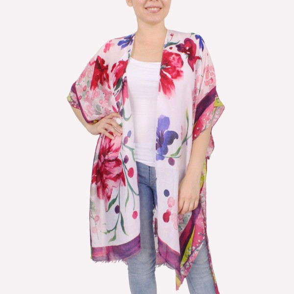 "Women's lightweight bordered floral kimono.  - One size fits most 0-14 - Approximately 37"" L - 100% Polyester"