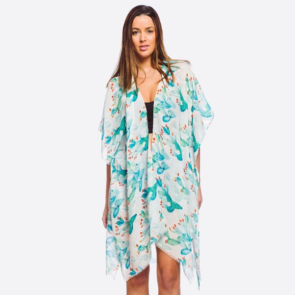 """Women's lightweight cactus print kimono.  - One size fits most 0-14 - Approximately 37"""" L - 100% Polyester"""