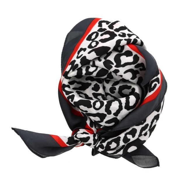 """Women's lightweight silky leopard print color bordered bandana scarf.  - Approximately 28"""" x 28""""  - 100% Polyester"""