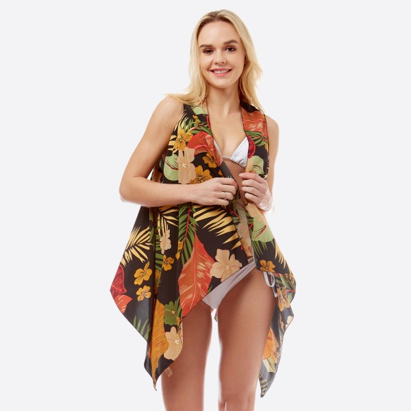 "Women's lightweight tropical floral vest kimono.  - One size fits most 0-14 - Approximately 27"" L and 35"" in front  - 100% Polyester"