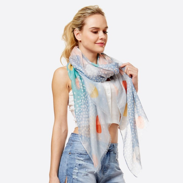 """Women's lightweight polka dot scarf with metallic stitching.  - Approximately 34"""" W x 70"""" L - 100% Polyester"""