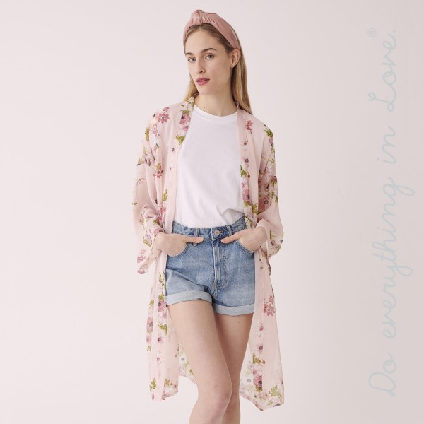 """Do everything in Love brand women's lightweight long sleeve sheer floral kimono.  - One size fits most 0-14 - Approximately 40"""" L - 100% Polyester"""