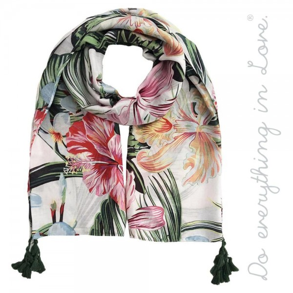 """Do everything in Love brand lightweight tropical hibiscus print tassel scarf.  - Approximately 34"""" W x 70"""" L - 100% Polyester"""