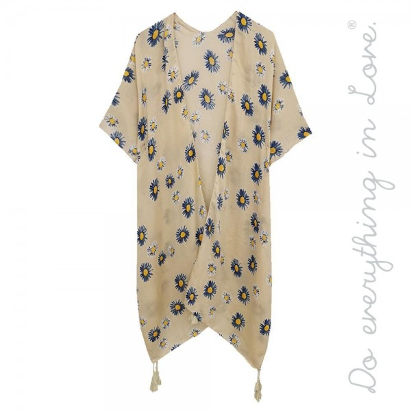 """Do everything in Love brand women's lightweight flower print tassel kimono.  - One size fits most 0-14 - Approximately 37"""" L - 100% Polyester"""