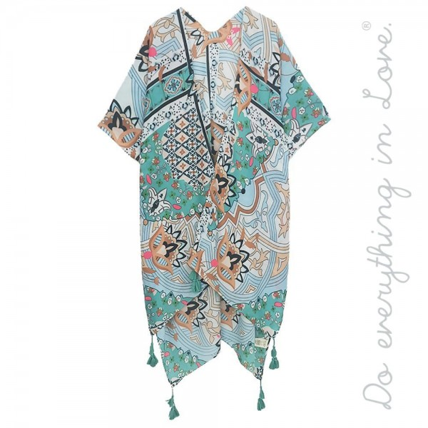 """Do everything in Love brand women's lightweight geometric floral kimono with tassels.  - One size fits most 0-14 - Approximately 37"""" L - 100% Polyester"""