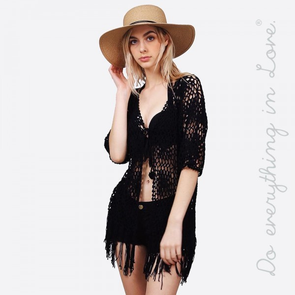 """Do everything in Love brand women's floral crochet short kimono with fringe tassels and front tie closure.  - Front tie closure - One size fits most 0-14 - Approximately 30"""" L - 100% Acrylic"""