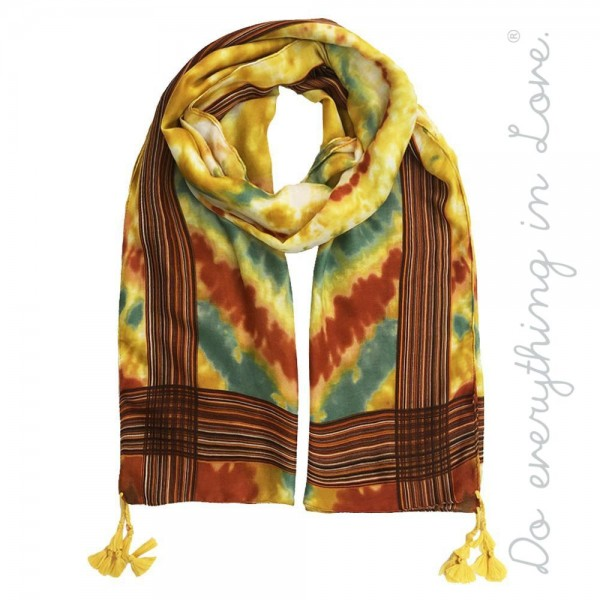 """Do everything in Love brand lightweight tie-dye print tassel scarf.  - Approximately 34"""" W x 70"""" L - 100% Polyester"""