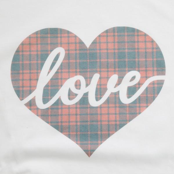 White Gildan Dryblend brand vintage plaid love script heart screen printed boutique graphic tee.  - Pack Breakdown: 6pcs/pack - Sizes: 1S / 2M / 2L / 1XL - 50% Cotton, 50% Polyester