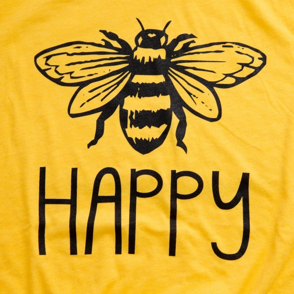 "Yellow Bella Canvas brand ""Be Happy"" screen printed boutique graphic tee.  - Pack Breakdown: 6pcs/pack - Sizes: 1S / 2M / 2L / 1XL - 52% Cotton, 48% Polyester"