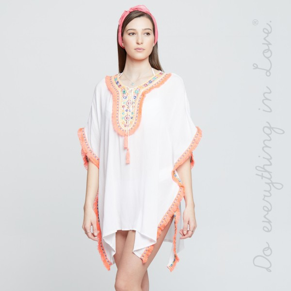 """Do everything in Love brand women's neon ethnic embroidered swimsuit cover up top with fringe tassel trim.  - One size fits most 0-14 - Approximately 30"""" L - 100% Viscose"""