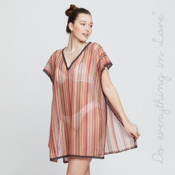 """Do everything in Love brand women's lightweight embroidery stripe open knit cover up top.  - One size fits mot 0-14 - Approximately 30"""" L - 100% Polyester"""