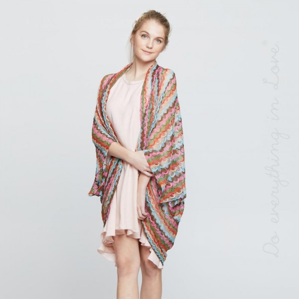 """Do everything in Love brand women's lightweight open knit rounded cocoon kimono.  - One size fits most 0-14 - Approximately 44"""" L - 100% Polyester"""