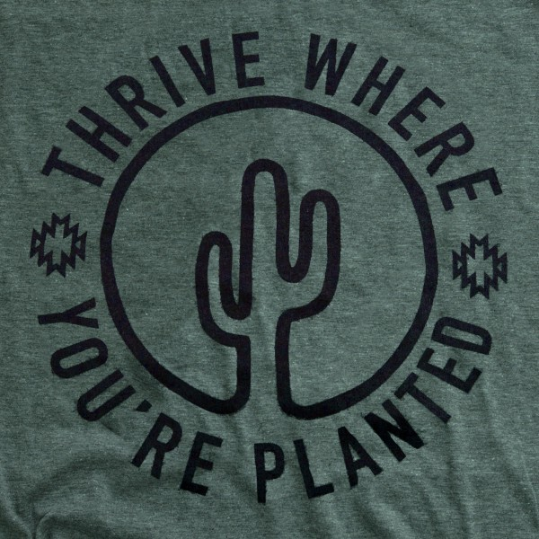 """Forrest Green Bella Canvas brand short sleeve """"Thrive Where You're Planted"""" screen printed boutique graphic tee.  - Pack Breakdown: 6pc/pack - Sizes: 1S / 2M / 2L / 1XL - 52% Cotton, 48% Polyester"""