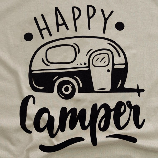 Tan Bella Canvas brand short sleeve Happy Camper screen printed boutique graphic tee.  - Pack Breakdown: 6pcs/pack - Sizes: 1S / 2M/ 2L / 1XL - 100% Cotton