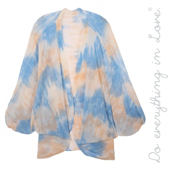 """Do everything in Love brand women's lightweight sheer tie-dye kimono.  - One size fits most 0-14 - Approximately 33"""" L - 100% Polyester"""