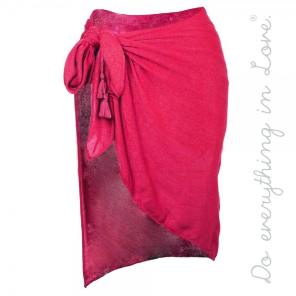 """Do everything in Love brand solid lightweight sarong wrap with side tassel tie detail.  - Approximately 40"""" W x 37"""" L - 100% Viscose"""