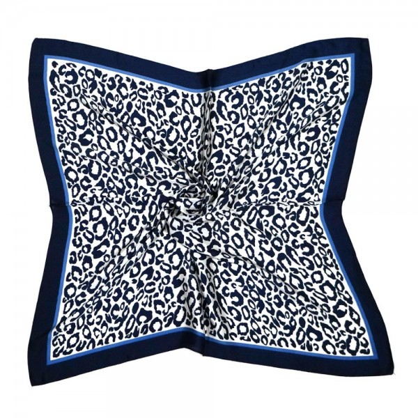 "Women's lightweight multi-wear silky leopard print bordered bandana scarf.  - Approximately 27"" x 28""  - 100% Polyester"