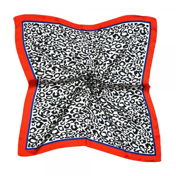 "Women's lightweight silky leopard print bordered bandana scarf.  - Approximately 27"" x 28""  - 100% Polyester"