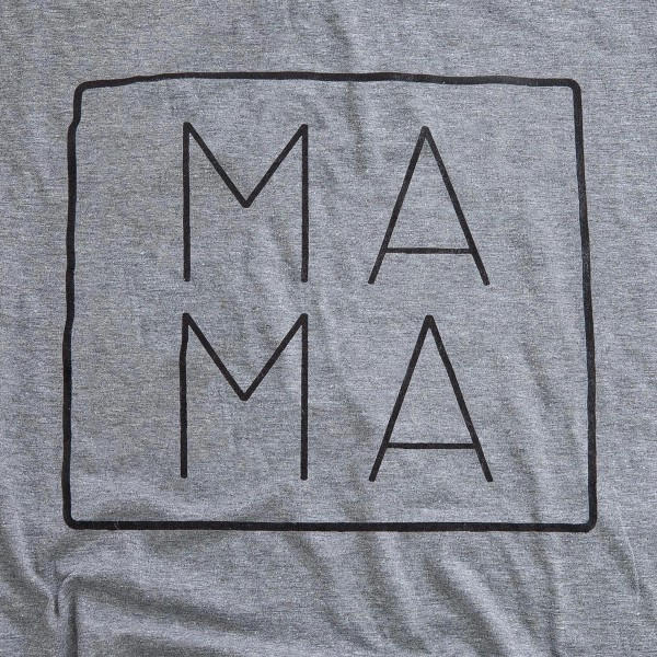 """Heather Grey Anvil Lightweight brand """"MA MA"""" screen printed boutique graphic tee.  - Pack Breakdown: 6pcs/pack - Sizes: 1S / 2M / 2L / 1XL - 50% Cotton, 50% Polyester"""