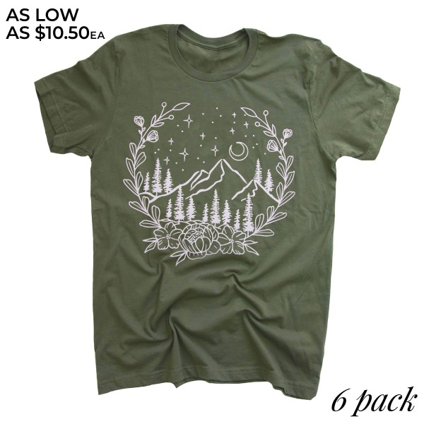 Olive Anvil Lightweight brand botanical mountain screen printed boutique graphic tee.  - Pack Breakdown: 6pcs/pack - Sizes: 1S / 2M / 2L / 1XL - 100% Cotton