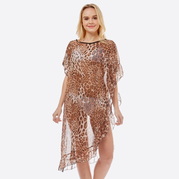 """Women's lightweight sheer leopard print half ruffle cover up top.  - One size fits most 0-14 - Approximately 38"""" L - 100% Polyester"""