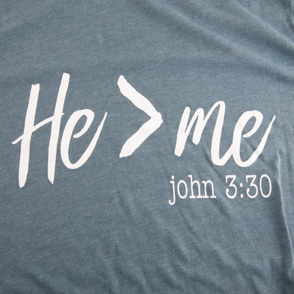 "Mint Blue Bella Canvas brand short sleeve ""He > Me John 3:30"" printed boutique graphic tee.  - Pack Breakdown: 6pcs/pack - Sizes: 1-S / 2-M / 2-L / 1-XL  - 52% Cotton / 48% Nylon"