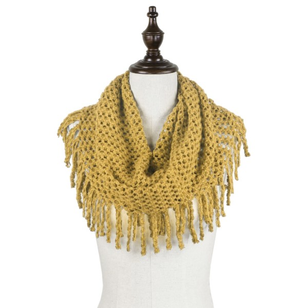 2-Tone mini tube scarf with fringe. 100% acrylic.