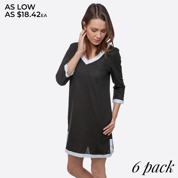 Black tunic dress with 3/4 length sleeves. Sold in packs of six - one small, two mediums, two larges, one extra large.