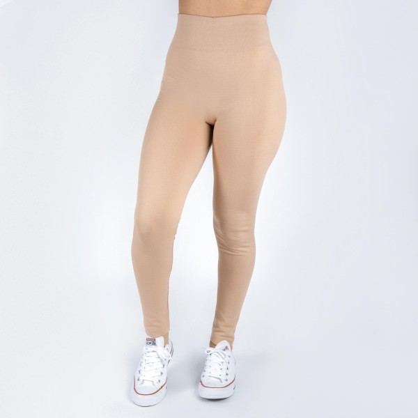 New Kathy / New Mix khaki, summer-weight leggings are seamless, chic, and a must-have for every wardrobe. These lightweight, full-length leggings are versatile, perfect for layering, and available in many shades. Smooth fabric, 92% Nylon 8% Spandex. One size fits most, fits US women's 0-14.