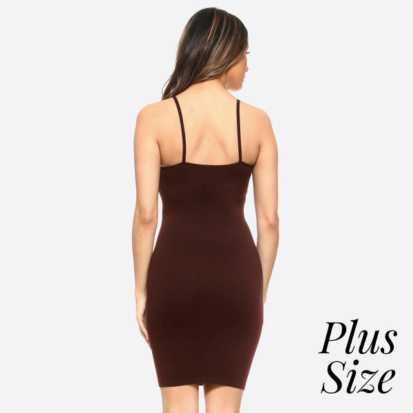 This is your seamless solid color casual go-to comfortable dress/top with Spaghetti Straps. This is a great dress/top for layering or simply just worn plain with accessories.   - Long Cami Top  - Round Neckline  - Spaghetti Straps  - Body Contouring - Figure Hugging - Solid Color  - Comfortable  - Super Soft  - Stretchy   One Size Fits Most Plus 16-22  Composition: 92% Nylon, 8% Spandex
