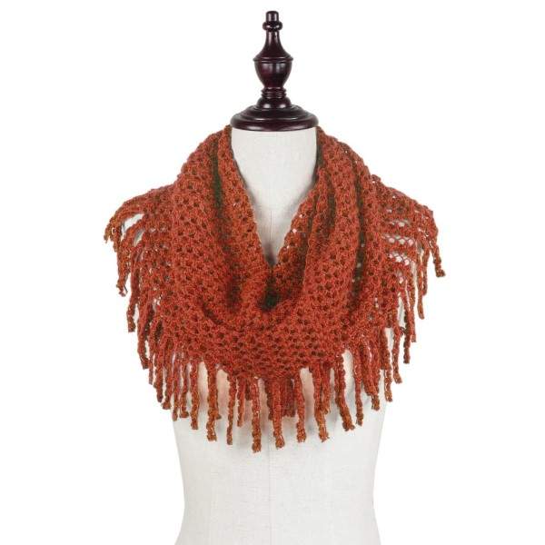 Rust orange knit tube scarf with fringe. 100% acrylic