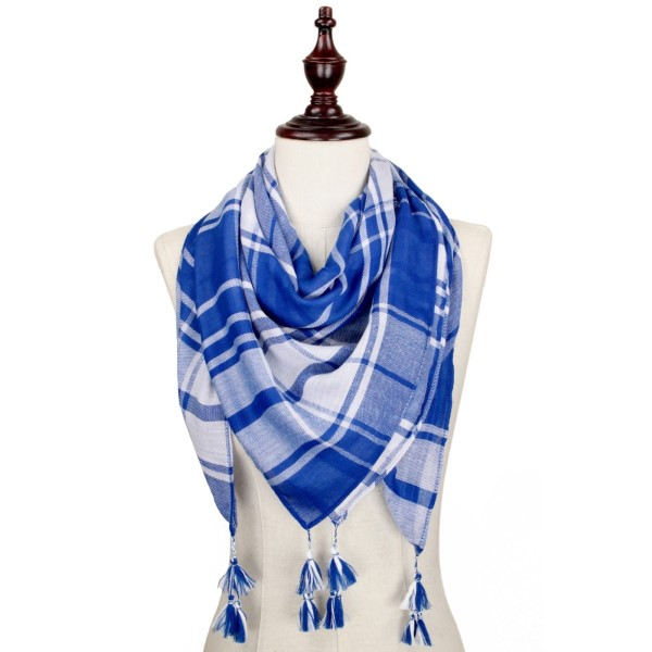 Royal blue and white lightweight plaid scarf with tassels. 100% polyester.