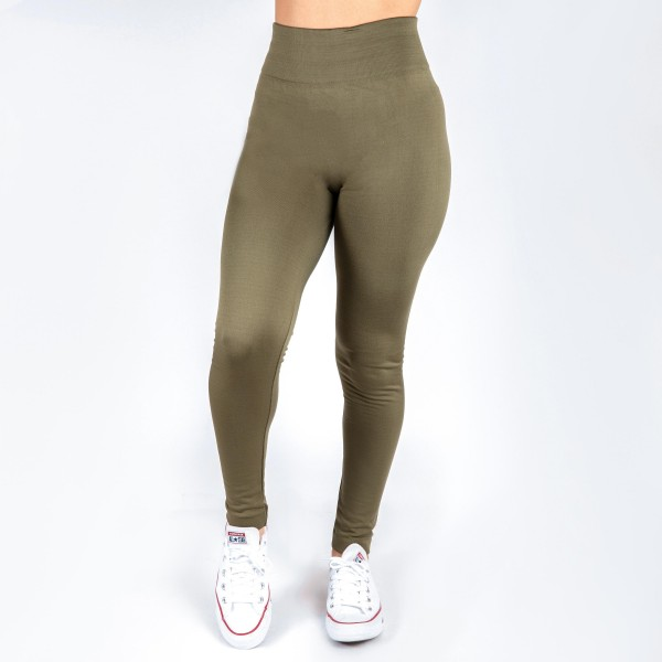 Olive green leggings. One size fits all, full length, summer weight. Lycra spandex. Offered in everyday essential colors to coordinate with long tops or skirts.
