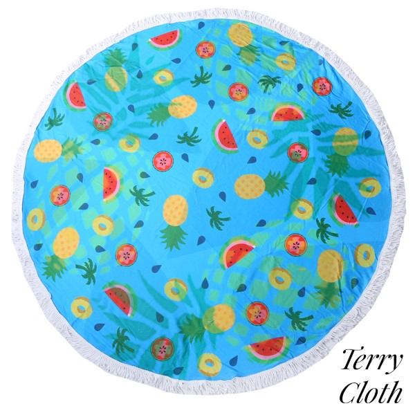9c111e715ce Wholesale pineapple watermelon printed terry cloth roundie beach towel  frayed ed