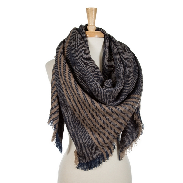 Wholesale navy blue beige striped blanket scarf acrylic