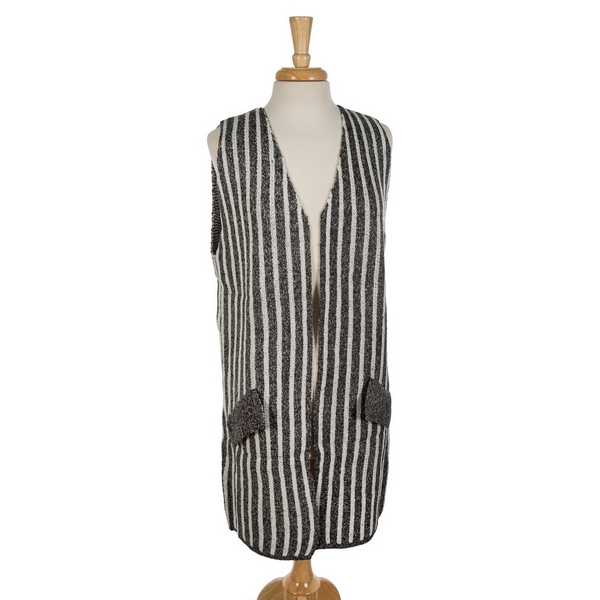 Wholesale charcoal white striped vest faux pockets acrylic wool One fits most